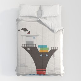 Another cute cargo ship on water. Comforters