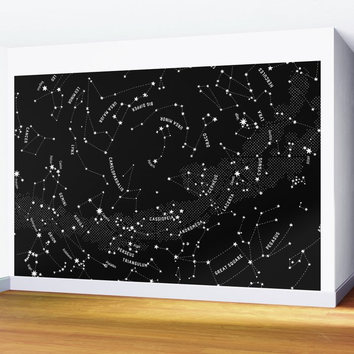 Constellation Map - Black Wall Mural