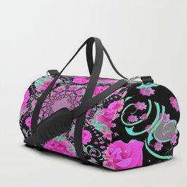 CERISE PINK ROSES & TURQUOISE RIBBONS ON BLACK Duffle Bag