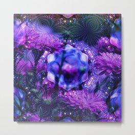 purple blue abstract flowers c Metal Print