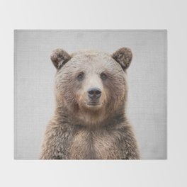 Grizzly Bear - Colorful Throw Blanket