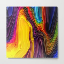 Melting Pot of Colors Abstract Metal Print