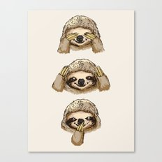 No Evil Sloth Canvas Print