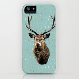 Highland Stag on turquoise and gold raindrop pattern iPhone Case
