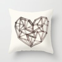wooden Throw Pillows featuring Wooden Heart by Picomodi