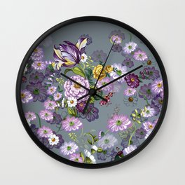 Purple Flowers IV Wall Clock