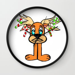 Spud the Christmas Reindeer with Candy Canes by Rosalie Wall Clock