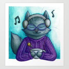 Hot drinks and cool tunes Art Print