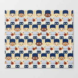 Baseball Pinstripes White and Blue - Super Cute Sports Stars Canvas Print