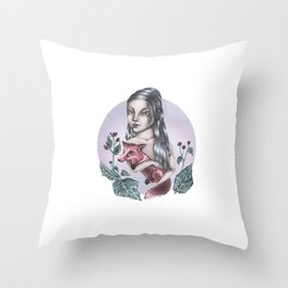 Girl with fox Throw Pillow