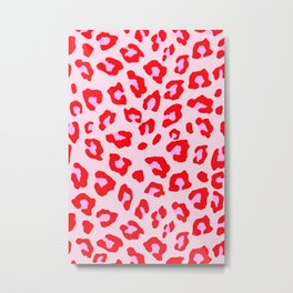 Leopard Print - Red And Pink Metal Print