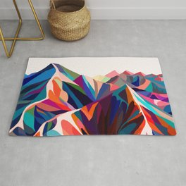 Mountains sunset warm Rug