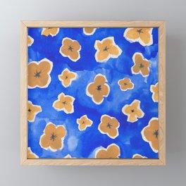 Yellow Flowers in a Blue Field Framed Mini Art Print