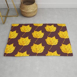 Fancy Watercolor Yellow Autumn Leaf Rug