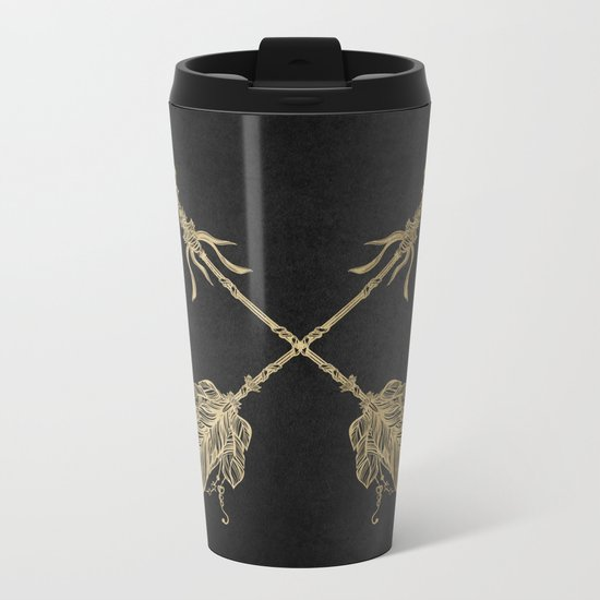 Gold Arrows on Black Metal Travel Mug