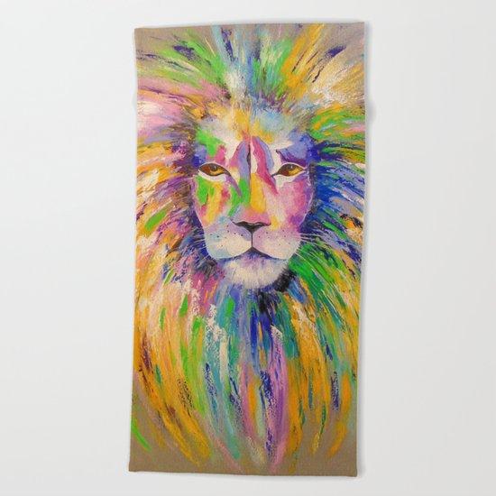 Colorful lion Beach Towel