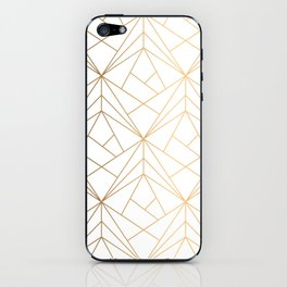 Geometric Gold Pattern With White Shimmer iPhone Skin