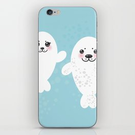 set Funny white fur seal pups, cute winking seals with pink cheeks and big eyes. Kawaii animal iPhone Skin