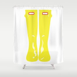 Yellow Rainboots Shower Curtain