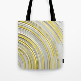 Glowing yellow concentric spirals on white Tote Bag