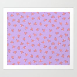Crazy Happy Uterus in Purple, small repeat Art Print