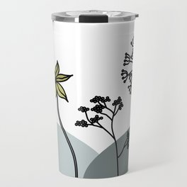Flowers - Black, white and gold dandelion and cowslip Travel Mug
