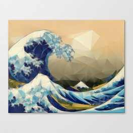 The Great Wave Off Kanagawa in Triangles Canvas Print