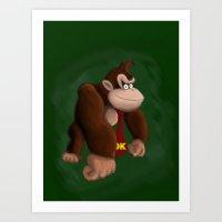 donkey kong Art Prints featuring DONKEY KONG by DROIDMONKEY