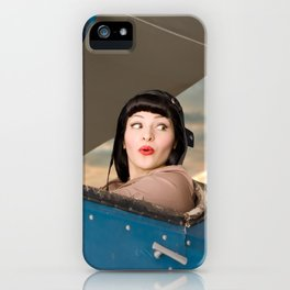 """""""Plucky Pilot"""" - The Playful Pinup - Pilot Pin-up Girl in Airplane by Maxwell H. Johnson iPhone Case"""