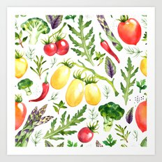 Watercolor vegetables Art Print
