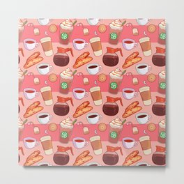 Coffee Break Pattern Metal Print