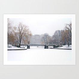 Snow falling in a city park, Public Garden, Boston Art Print