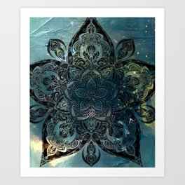 Flower mandala -night Art Print