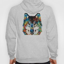 Wolf Art Print - Hungry - By Sharon Cummings Hoody