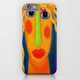 Blonde Abstract Digital Portrait of a Woman iPhone Case
