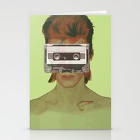 aladdin Stationery Cards featuring Taped Over Aladdin Sane by AudioVisuals