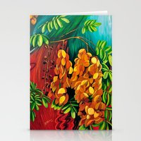 """cassia beck Stationery Cards featuring """"Cassia"""", Fine Art Print, Oil painting, flowers painting, yellow, floral wall decor, flowers art by Adriana Calcines"""