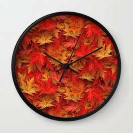 Autumn Case Fall Leaves Wall Clock
