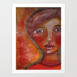 Whimsical redhead Art Print