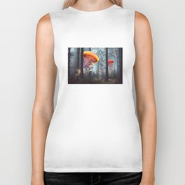 ElectricJellyfish Worlds in a Forest Biker Tank