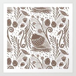 California Quail (Cocoa) Art Print