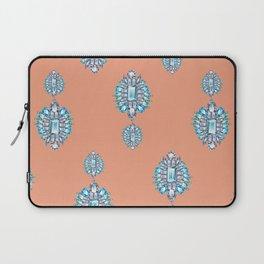 Jewelbox: Aquamarine Brooch on Coral Spice Laptop Sleeve