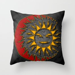 Smiling Sun Eclipsing the Moon Throw Pillow