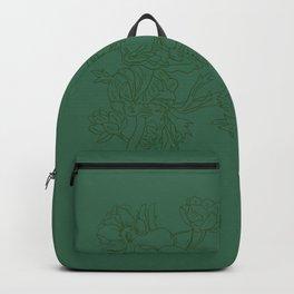Floral Ink - Emerald & Olive Ranunculus Backpack