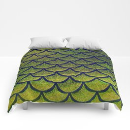 Chartreuse Cobalt Scales Comforters