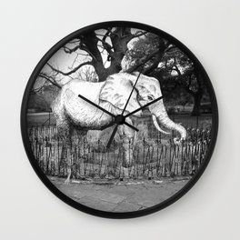 Elephant in the park Wall Clock