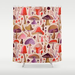 Mushroom Collection – Pink Shower Curtain