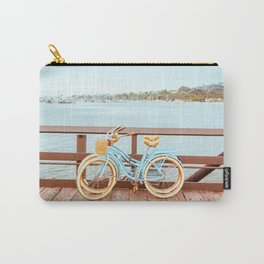 Two retro bicycles standing on Santa Barbara pier, California, USA. Vintage filter with muted teal blue and orange colors. Carry-All Pouch