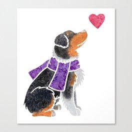 Watercolour Australian Shepherd (tri) Canvas Print