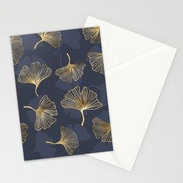 gold biloba pattern Stationery Cards